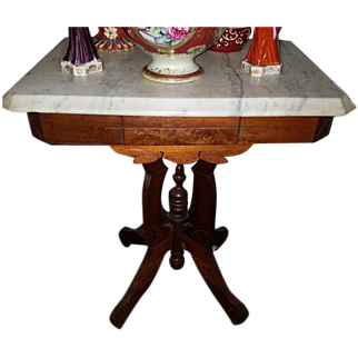 OHIO PICKUP Gorgeous antique Edwardian Victorian Eastlake wood and white marble top side table / rolling caster feet / oak / tiger maple