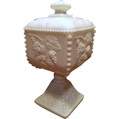 Vintage Westmoreland white milk glass hobnail footed compote covered bowl mid century / shabby chic / vintage decor / candy dish / nut dish