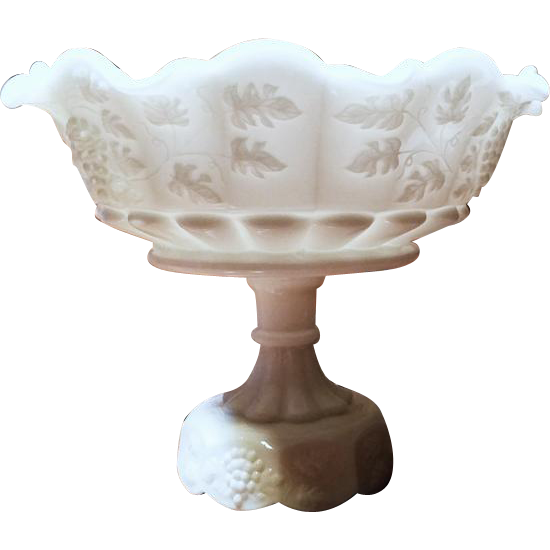 Large vintage Westmoreland white milk glass footed fruit grape compote bowl mid century / shabby chic / vintage decor