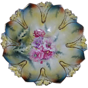 Antique Edwardian hand painted signed R.S. Prussia porcelain large bowl peony flowers