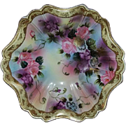 Antique Edwardian hand painted signed Nippon porcelain large bowl roses flowers - Red Tag Sale Item
