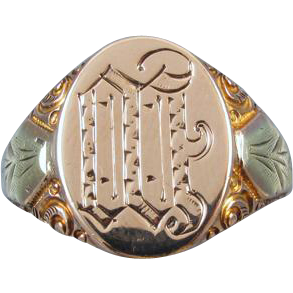 Mans antique Edwardian 6.8 gram 10k two tone gold carved signet ring signed Ostby Barton, size 10-1/4