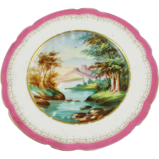 Vintage hand painted decorative scenic serving plate dish / porcelain / china / bone china / shabby chic / home decor