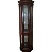 Stunning custom built cherry solid wood lighted corner curio cabinet hutch / collectibles / walk around 360 degree / by Jasper / show case