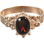 Antique Victorian 10k rose gold garnet solitaire ring hand engraved shoulders and bead work / size 7-1/2 / signed Allsopp Steller