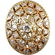 MASSIVE 14k gold 1.15 carat diamond statement cocktail dinner dome bombe cluster ring, size 8