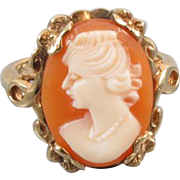 Vintage Art Deco 10k gold hand carved shell cameo ring, size 6-1/4