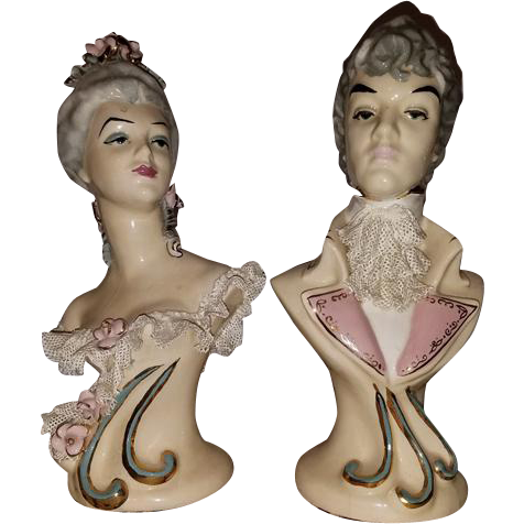 Vintage hand painted Dresden Lace ceramic porcelain figurine man and woman busts by Edwina of Hollywood