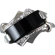 Vintage Art Deco black onyx and 4 diamond 10k white gold ring / size 6-1/4 / signed House of Kraus / curved / asymmetrical / diagonal set