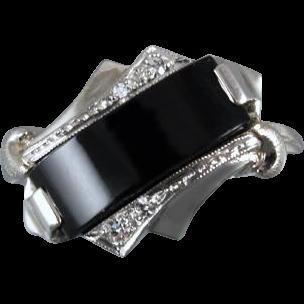 Vintage Art Deco asymmetrical black onyx and diamond 10k white gold ring, size 6-1/4, signed House of Kraus