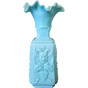 Antique vintage French Vallerysthal Portieux art glass blue milk glass Satyr / Pan / Goats head / Pagan / Wicca / Wiccan faun and roses vase