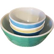 Vintage set of 4 Pyrex mixing bowls blue yellow Shenandoah and green model 401 oven ware Corning / Corningware