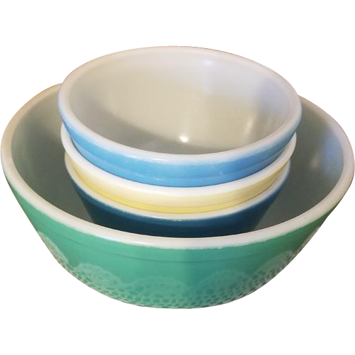 Vintage set of 4 Pyrex mixing bowls blue yellow Shenandoah and green model 401 oven ware Corning / Corningware