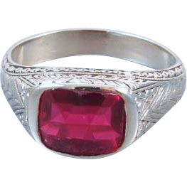 Unisex vintage early Art Deco 10k white gold synthetic lab created flame fusion ruby ring / size 9-1/4 / signed Goldin Milton Jewelry Co