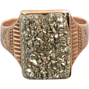 Antique Victorian 10k rose gold pyrite fools gold druzy ring, size 11