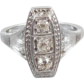 Art Deco three European cut .30 ct diamond 14k white gold ring, size 4-3/4 / bridal / wedding / vintage engagement ring /engagement ring