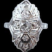 Art Deco five European cut .34ct diamond 14k white gold ring, size 4-3/4 / bridal / wedding / vintage engagement ring /engagement ring