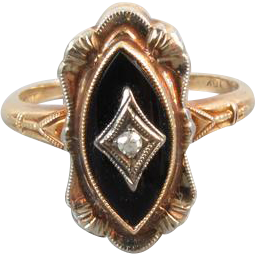 Vintage Art Deco 10k black onyx marquise and diamond navette ring signed Alby House, Inc / size 5-1/2