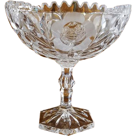 Vintage 1940s cut glass crystal footed pedestal bowl rose flower and star cut hexagonal base / dog tooth rim / candy dish / nut dish