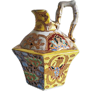 Antique Asian Oriental ceramic porcelain hand painted mosaic and phoenix rising cruet jug ewer / vase / pitcher / hexagon / bamboo