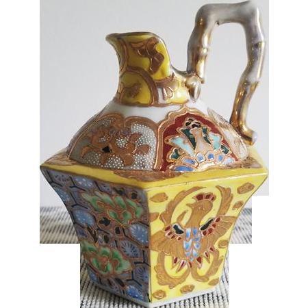 Antique Asian Oriental ceramic porcelain hand painted mosaic and phoenix rising cruet jug ewer / vase / pitcher / hexagon / bamboo