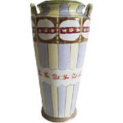 Antique Imperial Nippon Japan hand painted tall porcelain ceramic vase urn with eared handles / Asian / Oriental