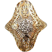 Vintage estate 14k gold filigree diamond cluster ring size 8-1/4 / signed Romanza