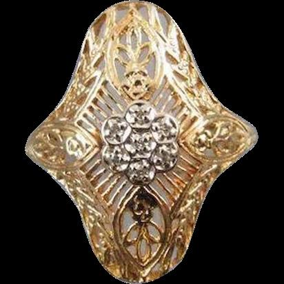 Vintage estate 14k gold filigree diamond cluster ring size 8-1/4 / signed Romanza