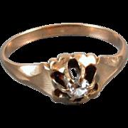 Antique Victorian 10k rose gold mine cut .10ct diamond ring signed Dattlebaum & Friedman / size 6-1/2 / engagement / gypsy set / belcher set