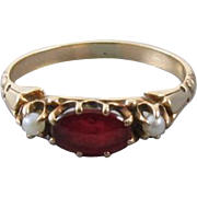 Antique Edwardian 10k rose gold garnet and glass doublet with seed pearls pinky midi ring / size 4