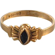 Antique Edwardian 10k gold black onyx marquise ring / pinky ring / midi ring, size 1 / baby ring / knuckle ring / signed Ostby Barton