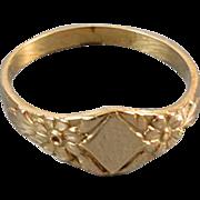 Vintage 10k gold signet ring / pinky ring / midi ring, size 0 / baby ring / knuckle ring / signed Marathon Kiddie Kraft