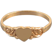 Vintage 10k gold heart shaped signet ring / pinky ring / midi ring, size 1-1/2 / baby ring / knuckle ring