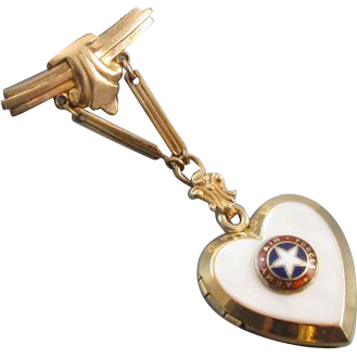 Vintage Art Deco gold filled WW2 military sweetheart US Army Air Force mother of pearl and enamel son in service heart shaped locket chain brooch pin