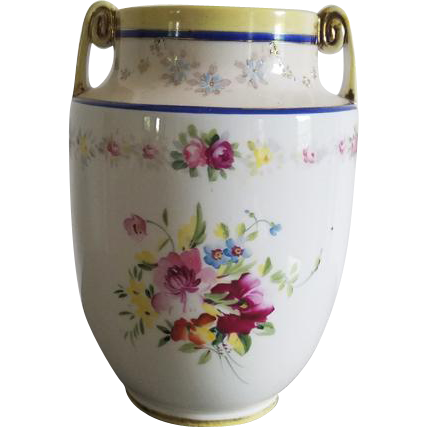 Antique Nippon Japan hand painted porcelain ceramic vase urn with eared handles