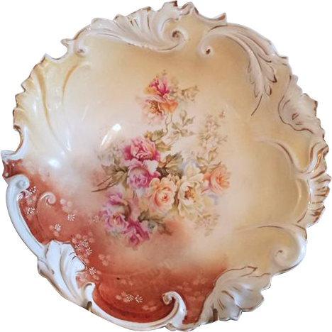 Antique Edwardian large hand painted bowl roses / flowers