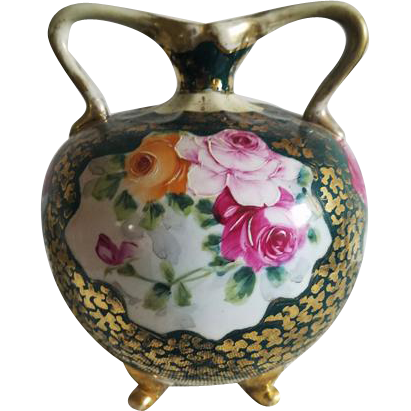 Stunning antique hand painted roses ceramic porcelain eared handles tri footed urn vase