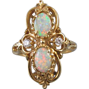 Vintage estate 14k gold opal and diamond statement cocktail navette ring, size 7-1/2