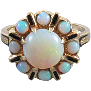 Colorful vintage estate 14k gold opal halo cocktail dinner ring, size 7 / mid century / black enamel / signed FE Knight, Inc.