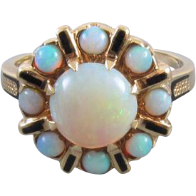 Colorful vintage estate 14k gold opal halo cocktail dinner ring, size 7 / mid century / black enamel / signed FE Knight, Inc.