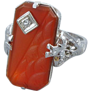 Wonderful 14k white gold filigree vintage Art Deco asymmetrical wave carved carnelian and diamond ring / size 4-1/2
