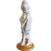 Vintage Made in Japan geisha woman with fans porcelain figurine / Yamakuni China / Asian / Oriental / ceramic / pottery