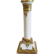 Vintage Art Deco Nippon Japan hand painted porcelain ceramic candle stick holder / grape leaf pattern