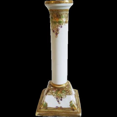 Vintage Art Deco Nippon Japan hand painted porcelain ceramic candle stick holder / grape leaf pattern
