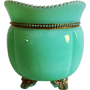 Antique Edwardian green art glass / slag glass / milk glass cache pot bowl footed with gold accents