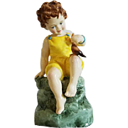 Royal Worcester Fridays Child is Loving and Giving porcelain figurine #3523 Baby Feeding Bird 1927 Made in England
