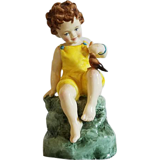 Royal Worcester Fridays Child is Loving and Giving porcelain figurine #3523 Feeding Bird 1927 Made in England