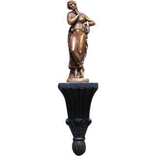 Vintage Roman Greek woman in toga figural figurine chalkware wall art / sconce style on podium / bronze / gold / silver / black