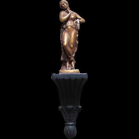 Vintage Roman Greek woman in toga figural figurine chalkware wall art / sconce style on podium / bronze / gold / silver / black
