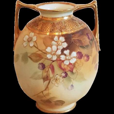 Antique Nippon Japan hand painted porcelain ceramic vase urn with eared handles dogwood flowers